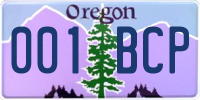 OR license plate 001BCP