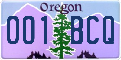 OR license plate 001BCQ