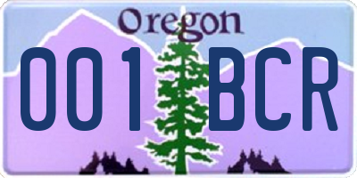 OR license plate 001BCR
