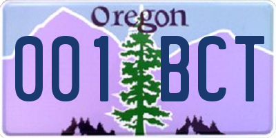 OR license plate 001BCT