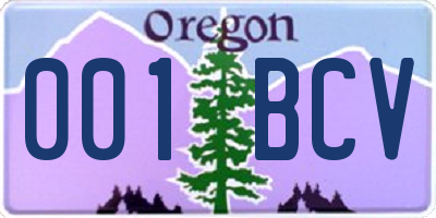 OR license plate 001BCV
