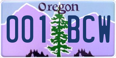 OR license plate 001BCW