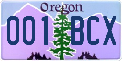 OR license plate 001BCX