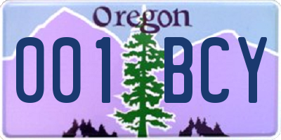 OR license plate 001BCY