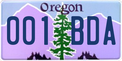 OR license plate 001BDA