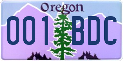 OR license plate 001BDC