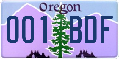 OR license plate 001BDF