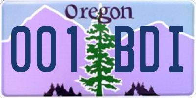 OR license plate 001BDI