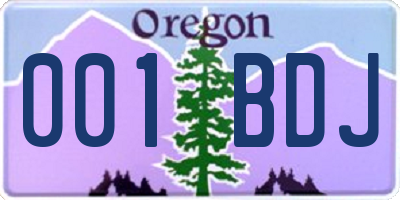 OR license plate 001BDJ