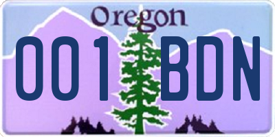 OR license plate 001BDN