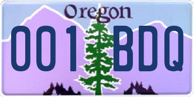 OR license plate 001BDQ
