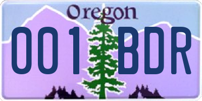 OR license plate 001BDR