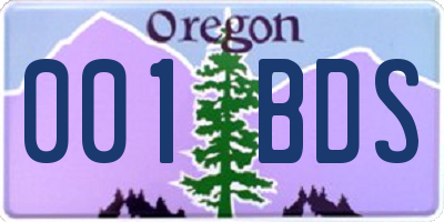 OR license plate 001BDS