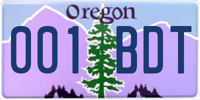 OR license plate 001BDT