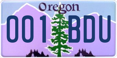 OR license plate 001BDU