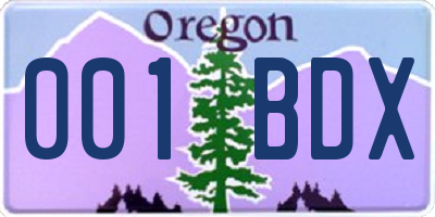 OR license plate 001BDX