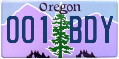 OR license plate 001BDY