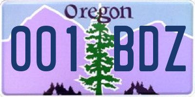 OR license plate 001BDZ