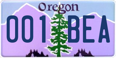 OR license plate 001BEA