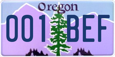OR license plate 001BEF
