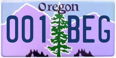 OR license plate 001BEG