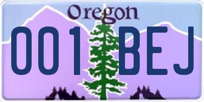 OR license plate 001BEJ