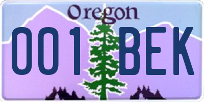 OR license plate 001BEK