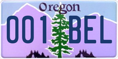 OR license plate 001BEL
