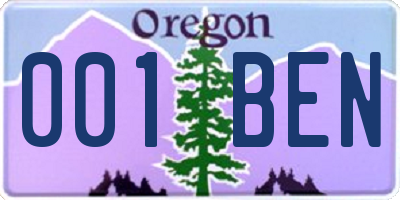 OR license plate 001BEN