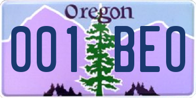 OR license plate 001BEO