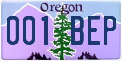 OR license plate 001BEP