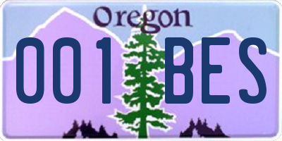 OR license plate 001BES