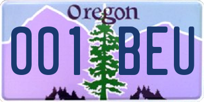 OR license plate 001BEU