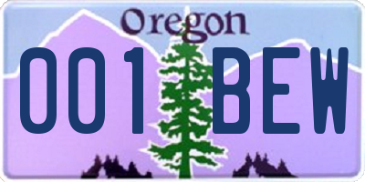 OR license plate 001BEW