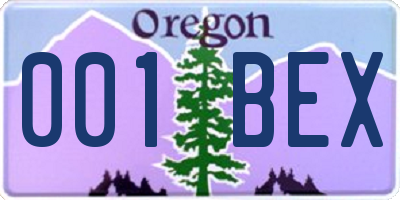 OR license plate 001BEX