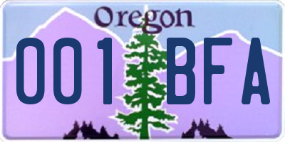 OR license plate 001BFA