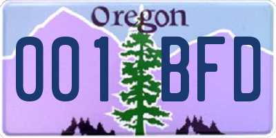 OR license plate 001BFD