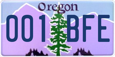 OR license plate 001BFE