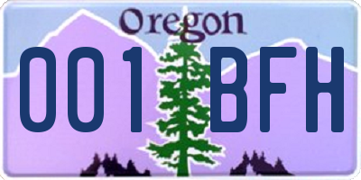 OR license plate 001BFH