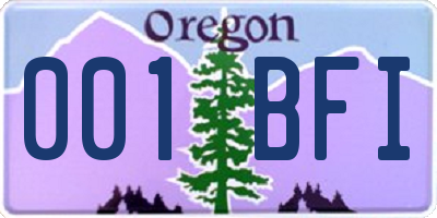 OR license plate 001BFI