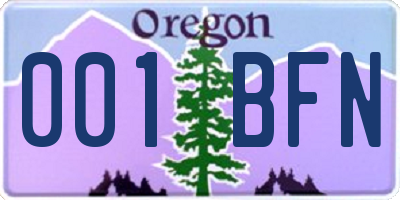 OR license plate 001BFN