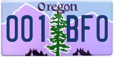 OR license plate 001BFO