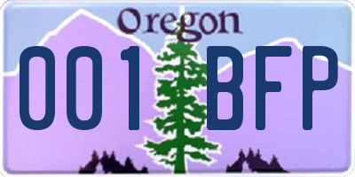 OR license plate 001BFP
