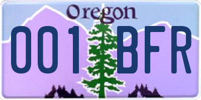 OR license plate 001BFR