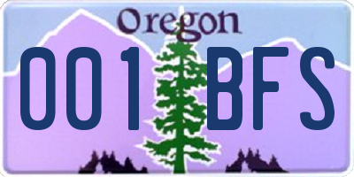 OR license plate 001BFS
