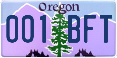 OR license plate 001BFT