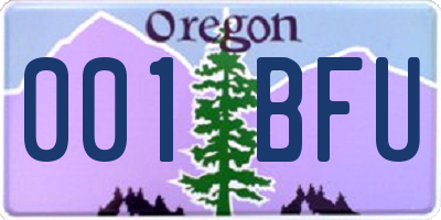 OR license plate 001BFU