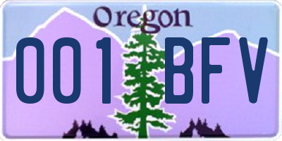 OR license plate 001BFV