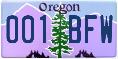 OR license plate 001BFW