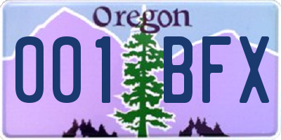OR license plate 001BFX